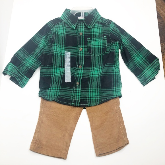 Carter/'s Infant Girls 2-Piece Plaid Flannel Top /& Corduroy Pants Set NWT
